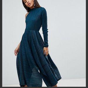 ASOS asymmetric one sleeve plisse dress TALL